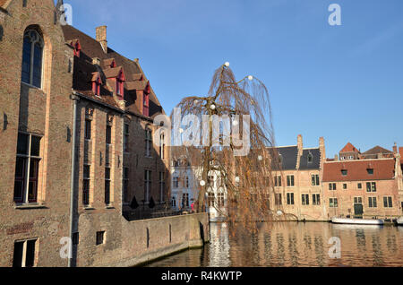 Flemish Buildings on the canal system in Bruges Belgium - Stock Image