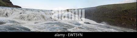Gullfoss Falls, Iceland, close panorama shot - Stock Image