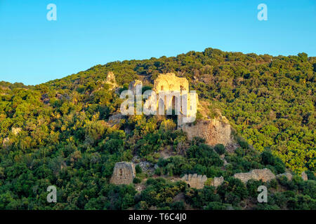 Israel, North District, Upper Galilee. Montfort Castle, a ruined Crusader fortress within the Nahali Kziv nature reserve. - Stock Image