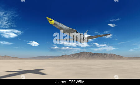Fighter Jet, futuristic military airplane flying over a desert with blue sky in the background, bottom view, 3D render - Stock Image