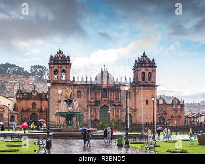 Cusco, Peru - January 6, 2017. View of the Cathedral in the Plaza de Armas of Cusco, Peru, in a rainy day. - Stock Image