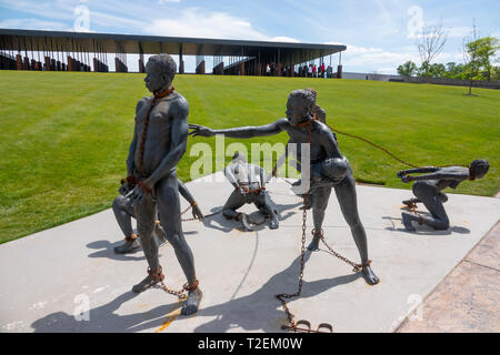 USA Alabama Montgomery National Memorial for Justice and Peace a museum for racial injustice and lynchings in America - Stock Image