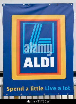 Aldi Store Temporary Banner - Stock Image