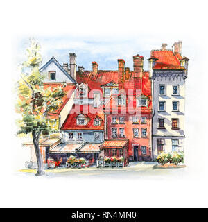 Watercolor sketch of amusing bright old-fashioned houses on Livu square in Old Town of Riga, Latvia - Stock Image