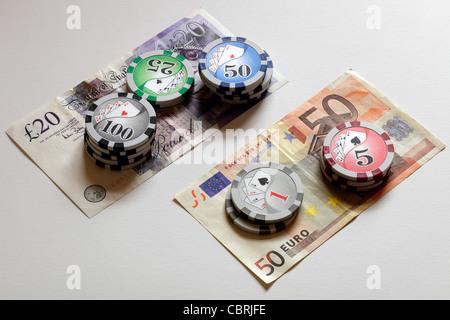 Gambling on Pound vs. Euro - Stock Image