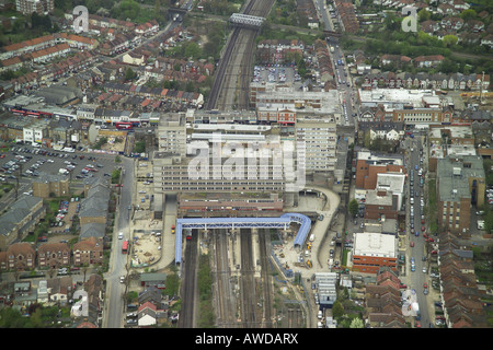 Aerial view of Wembley Central Station on the High Road in Wembley, Middlesex - Stock Image