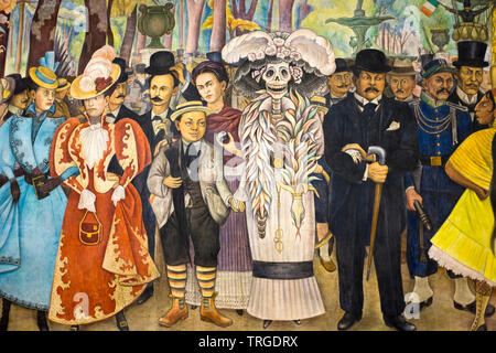Dream of A Sunday Afternoon in the Alameda Central Mural Museum by Diego Rivera Mexico City - Stock Image