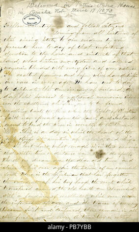 992 Manuscript speech of John O'Keefe on the history of Ireland's struggle with England, March 17, 1873 - Stock Image