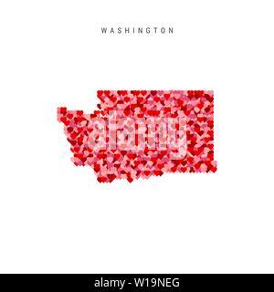 I Love Washington. Red Hearts Pattern Vector Map of Washington - Stock Image