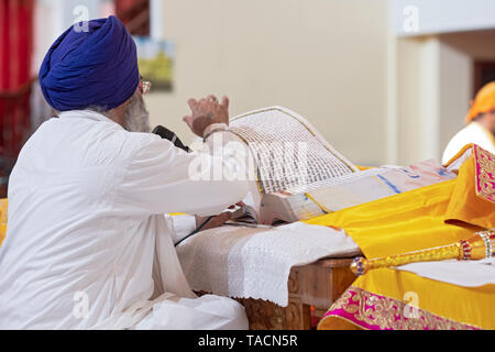 A Sikh priest in a turban reads from the holy book, the GURU GRANTH SAHIB, and turns a page. IN RICHMOND HILL, QUEENS, NEW YORK. - Stock Image