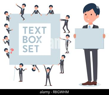 A set of businessman with a message board.Since each is divided, you can move it freely.It's vector art so it's easy to edit. - Stock Image