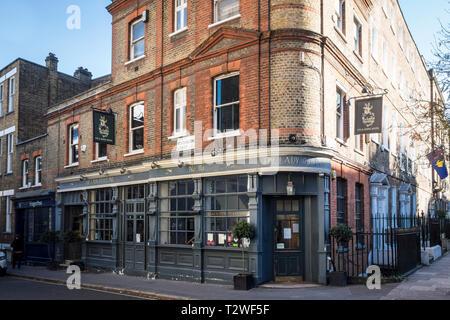 The Lady Ottoline pub bar restaurant, Northington Street, London, UK - Stock Image