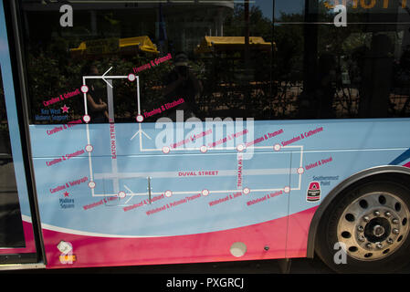 Map over the free bus-route in down-town Key West Florida - Stock Image