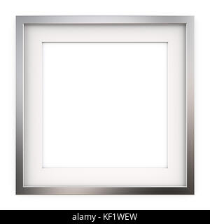 3D render of Classic Square Metal Frame with white Passe-partout. Blank for Copy Space. - Stock Image