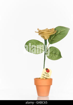 Golden anniversary flower - 'Happy 50th 'gold' anniversary' - Stock Image