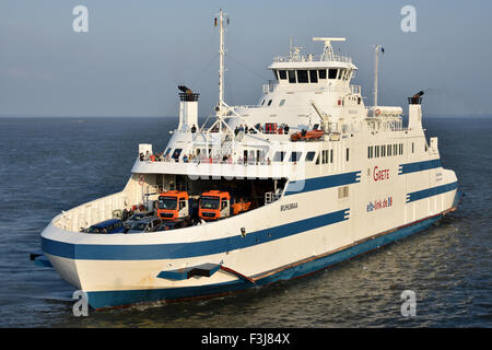 Ferry Grete / Muhumaa serving the Cuxhaven-Brunsbuettel-route, river Elbe - Stock Image
