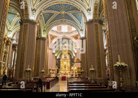 The neoclassical style interior of the Cathedral of San Luis Potosi in the historic center on the Plaza De Armas in the state capital of San Luis Potosi, Mexico. Also known as the San Luis Potosi Metropolitan Cathedral, it is consider the most important monument in the state and the first Baroque style building constructed in 1670 on the site of a parish church first built in 1593. - Stock Image