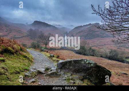 Easedale and Sourmilk Gill waterfalls, Grasmere, Lake District, Cumbria - Stock Image