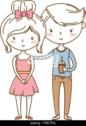 Romantic love couple cute stylish outfit sweater dress vector illustration graphic design - Stock Image