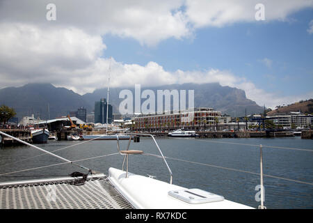 View form a Catamaran on Victoria Basin at the Waterfront - Cape Town, South Africa - Stock Image