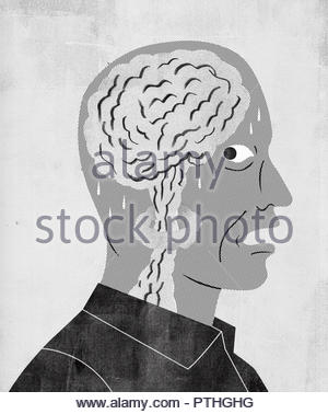 Terrified man having panic attack with explosion inside of head - Stock Image