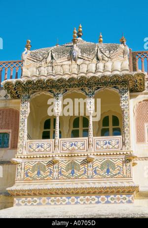 Balcony Amber Fort, Jaipur, Rajasthan, India - Stock Image