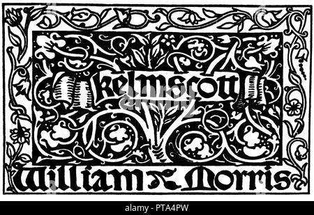Kelmscott Press Mark, 1891 trademark for the publishing house established by the Victorian designer, poet and author William Morris for the publication of books he deemed to be beautiful - Stock Image