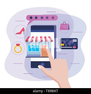 hand with smartphone and online market sale with credit card vector illustration - Stock Image