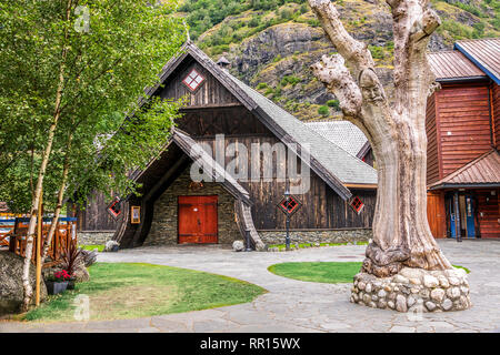 Traditional Wooden Buildings Flaam, Norway - Stock Image