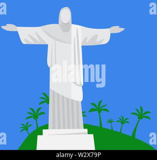 Brazil Christ the Redeemer Statue illustration vegetation  mountain - Stock Image