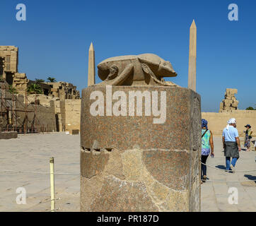 A huge granite stone scarab beetle of Khepri, built by Amenhotep III at the Temple of Amum, Kanak, Luxor, Egypt, Africa - Stock Image