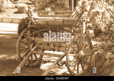 old horse pulled wagon black and white - Stock Image