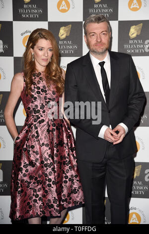 LONDON, UK. March 19, 2019: Annabel Jones & Charlie Brooker arriving for the Royal Television Society Awards 2019 at the Grosvenor House Hotel, London. Picture: Steve Vas/Featureflash Credit: Paul Smith/Alamy Live News - Stock Image