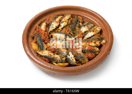 Traditional  Moroccan Tagine with sardinesisolated on white background - Stock Image