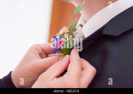 Bride,groom,flower,flowers,wildflower,wedding,woman,man,marry,marries,colorful,day,most beautiful,Bouquet,purple,yellow,nature,j - Stock Image