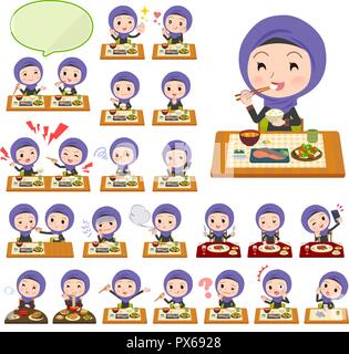 A set of women wearing hijab about meals.Japanese and Chinese cuisine, Western style dishes and so on.It's vector art so it's easy to edit. - Stock Image