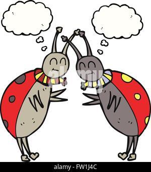 freehand drawn thought bubble cartoon ladybugs greeting - Stock Image