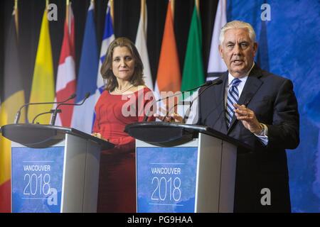 U.S. Secretary of State of Rex Tillerson and Canadian Foreign Minister Chrystia Freeland participate in a US-Canada joint press availability at the Vancouver Foreign Ministers' Meeting on Security and Stability on the Korean Peninsula in Vancouver, Canada on January 16, 2018. - Stock Image