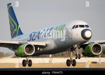 Landing Airbus A320 of a Slovak charter airline Seagle Air - Stock Image