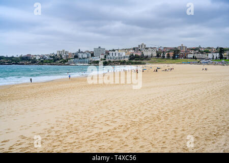 View looking south at Bondi Beach, Sydney, Australia.  It is in the suburb of Bondi and is popular with locals and tourists. - Stock Image