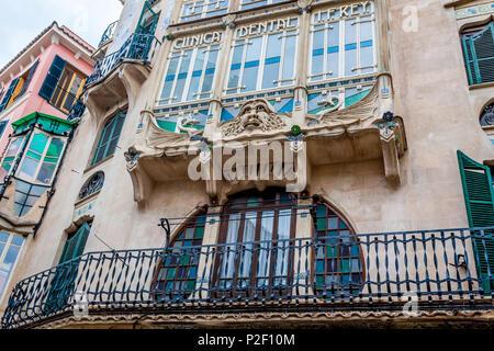 Modernist architecture next to Plaza Cort, historic city centre, Ciutat Antiga, Palma de Mallorca, Majorca, Balearic Islands, Me - Stock Image