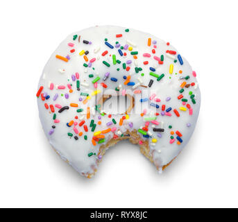 White Sprinkle Donut with Bite Eaten Out of it Isolated on White. - Stock Image