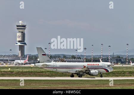 Rossiya Airbus A319 - at Milan - Malpensa (MXP / LIMC) Italy - Stock Image
