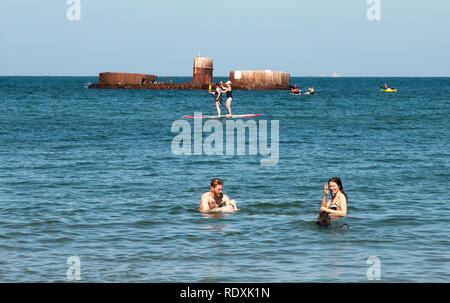 People swimming off the historic wreck of HMVS Cerberus at Half Moon Bay on Port Phillip Bay, Melbourne, Australia - Stock Image