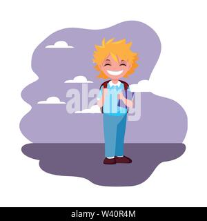 smiling school boy with backpack otdoors vector illustration - Stock Image