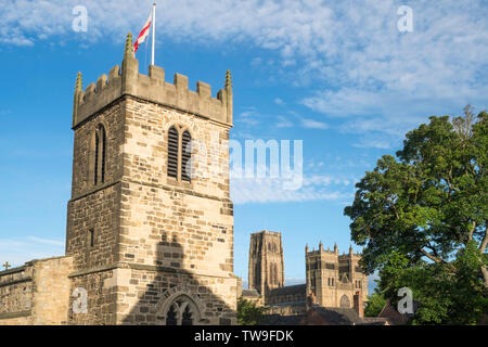 St Margaret's church and Durham cathedral, Durham city, Co. Durham, England, UK - Stock Image