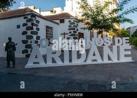 Town sign to Los Llanos de Aridane, La Palma, Canary Islands, Spain - Stock Image