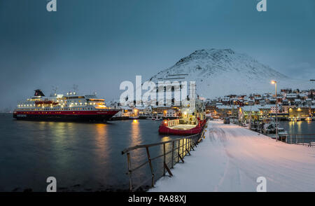 MS Polarlys moored at Honningsvag, Norway. - Stock Image