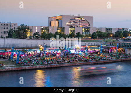 Berlin center river Spree capital beach cafe, new federal chancellery  Panorama - Stock Image