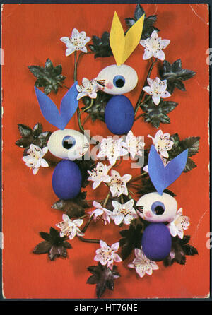 GERMANY - CIRCA 1969: A postcard printed in Germany, depicting the Easter theme, circa 1969 - Stock Image
